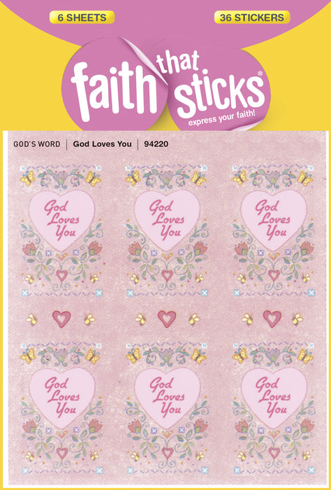 Sticker-God Loves You (6 Sheets) (Faith That Sticks)