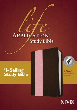 NIV*Life Application Study Bible-Dark Brown/Pink T