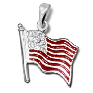 Flag-Silver Pendant w/CZ Stones Necklace