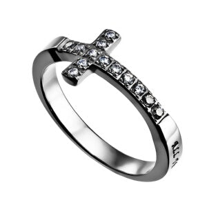 Sideways Cross-Christ My Strength-Sz  9 Ring