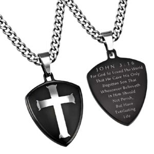 "Black R2 Shield Cross (John 3:16) (24"") Necklace"