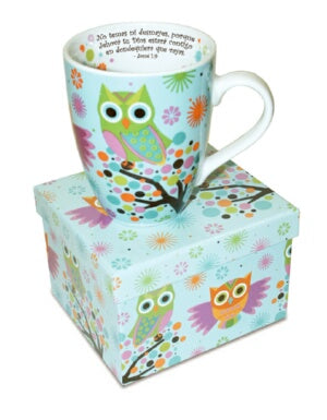 Mug-Owls On Tree-Joshua 1:9-Spanish