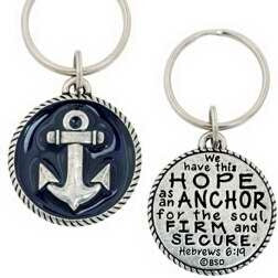 Anchor w/Deep Blue Epoxy & Hebrews 6:19 Key Chain