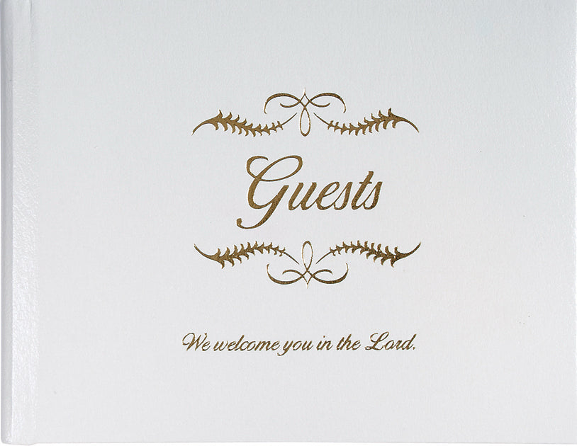 Guest Book-Guests: We Welcome You In The Lord All Occasion-Small-White