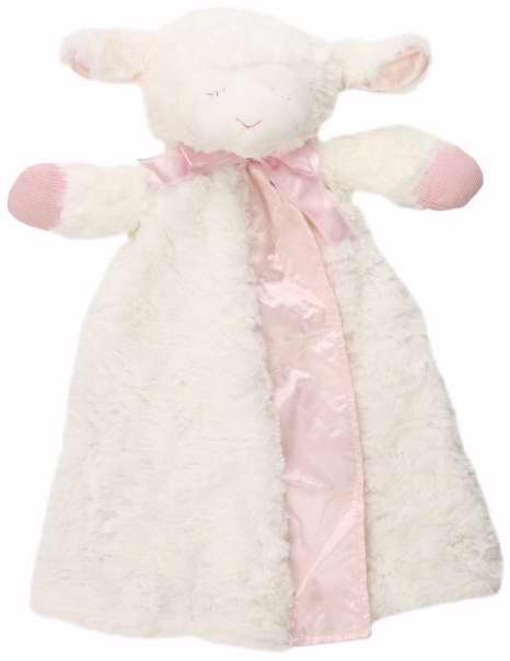 "Blanket-Plush-Huggybuddy-Winky Lamb-White w/Pink Trim (17"")"