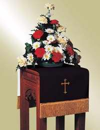 Flower Stand Cover-Pavillion-Reversible-Black/White/Latin Cross (12170)