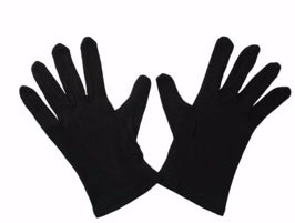 Gloves-Black Cotton-Large
