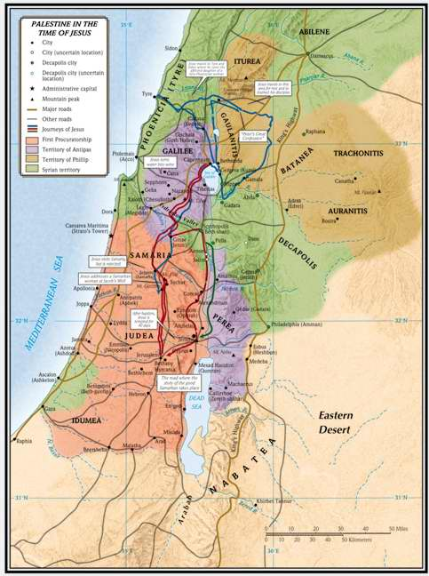 "Map-Palestine In The Time Of Jesus (19-1/4"" x 26"")"