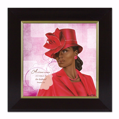 Framed Art-Virtuous Woman (Red) Proverbs 12:4 (16 x 16)