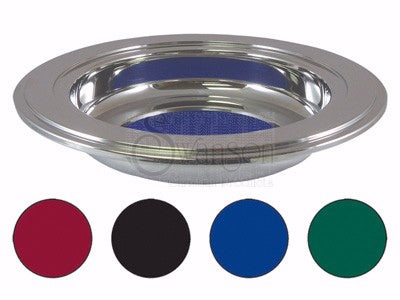 Offering Plate-Silvertone-With 4 Assorted Color Magnetic Velour Pad Inserts
