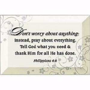 Glass Plaque-Dont Worry (Philippians 4:6)-Easel Ba