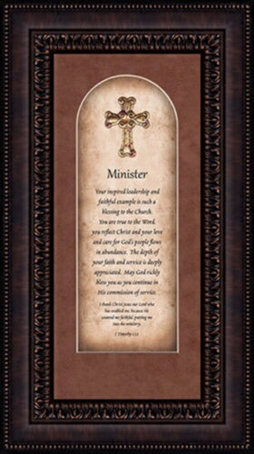 "Framed Art-Minister (1Timothy 1:12) (9"" x 16"")"