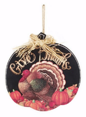 Wall Sign-Give Thanks-Pumpkin Shaped w/Turkey (11.