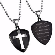 "Black R2 Shield Cross-Man Of God (24"" Bal Necklace"