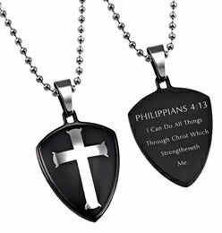"Black R2 Shield Cross-Christ My Strength Necklace (Mens)-24"" Ball Chain"