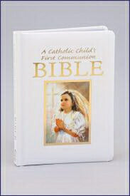 Catholic Child's First Communion Girl's Bible-Whit