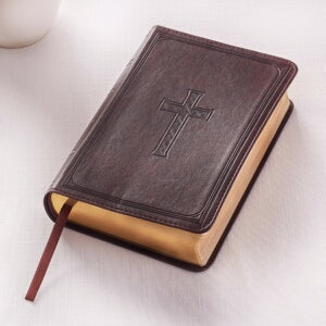 KJV Compact/Large Print Bible-Dark Brown LuxLeathe