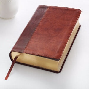 KJV Giant Print Bible-Dark Brown/Tan LuxLeather
