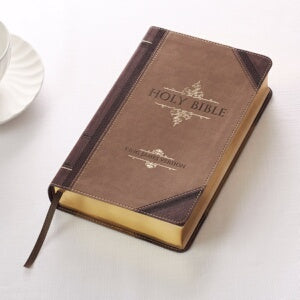 KJV Giant Print Bible-Dark Brown/Tan Portfolio Lux