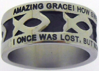Silver Stainless Steel-Amazing Grace-Icthus- Ring