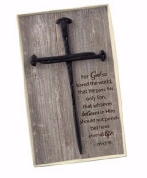 Wall Cross-Cross Of Nails (Gift Boxed w/John 3:16