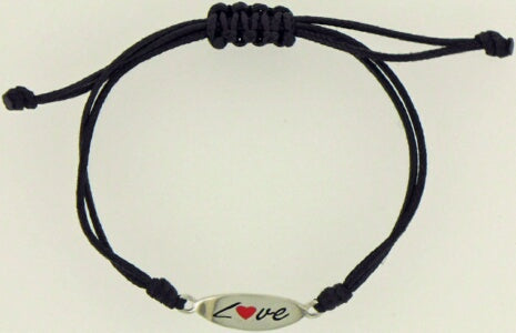 Love With Heart-Sterling Silver-Nylong Ad Bracelet