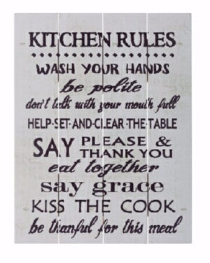 Rustic Pallet Art-Kitchen Rules-White (16 x 20)