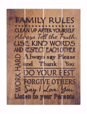 Rustic Pallet Art-Family Rules-Brown (9 x 12)