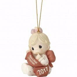 "Ornament-Baby's First Christmas 2017-Girl (2.75"")"