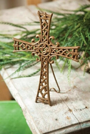 Cross w/Easel-Stand On The Solid Rock-Cast Iron (4