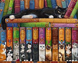 Jigsaw Puzzle-Cat Bookshelf (1000 Pieces)