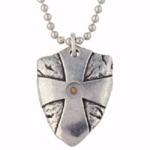 "Mustard Seed Shield w/24"" Chain-Pewter (C Necklace"