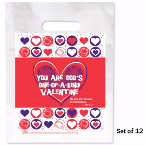 You Are God's One-Of-A-Kind Valentine Goodie Bag (9 x 12) (Pack Of 12) (Pkg-12)