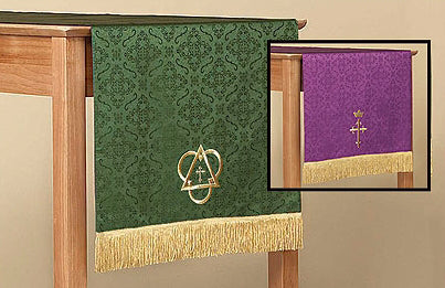 Parament-Jacquard-Reversible-Table Runner With Fringe-Purple/Green