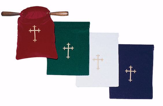 Offering Bag-Embroidered Gold Cross-Burgundy