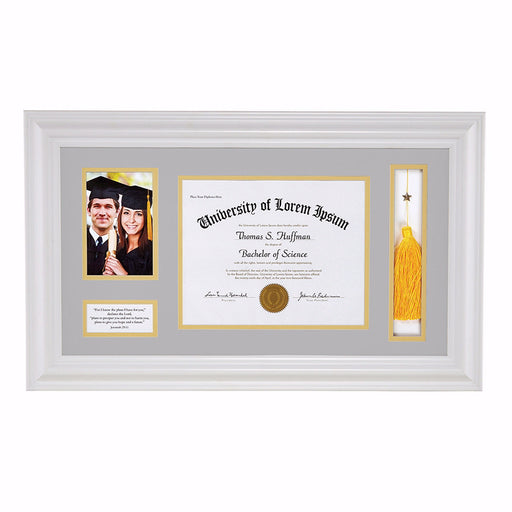 Frame-Wall-Graduation Keepsake For Photo/Tassel & Diploma (Jer 29:11)-White (25 x 14.75)