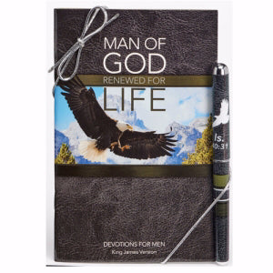Gift Set-Man Of God/Renewed Devotion Book & Pen (Isaiah 40:31 KJV)