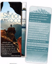 Spanish-Pen & Jumbo Bookmark Set-The Lord Is My Rock (Psalm 18:2 RVR60)