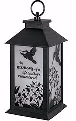 "Lantern-Loved Remembered w/LED Candle & Timer (13"" x 5.5"" x 5.5"") (Jan)"
