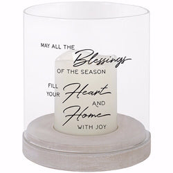"Candle-Glass Hurricane-Flameless-Flicker-Blessings Heart And Home w/Timer (7"" x 6"")"