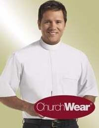 Clerical Shirt-Short Sleeve-Banded-17 In-Wht