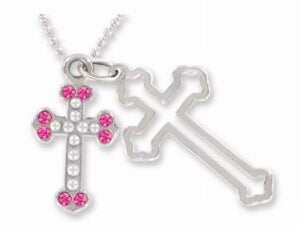 Pendant-Cross In Bible Box-Pnk/Purp-24 Asst