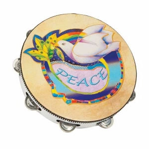 "10"" Round Dove/Symbol Of Peace Tambourine"