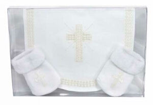 Baby-Bib/Sock Cross Set-Plain Edge