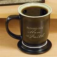 Mug-Man Of Faith-Brn/Wht Interior w/Coaster/Lid