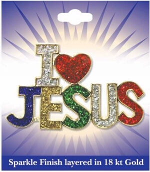 I Love Jesus (Sparkle)-Carded (Feb) Pin