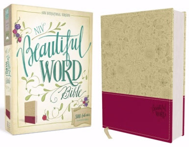 NIV*Beautiful Word Bible-Taupe/Cranberry DuoTone (