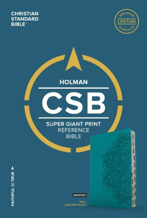 CSB Super Giant Print Reference Bible-Teal LeatherTouch Indexed