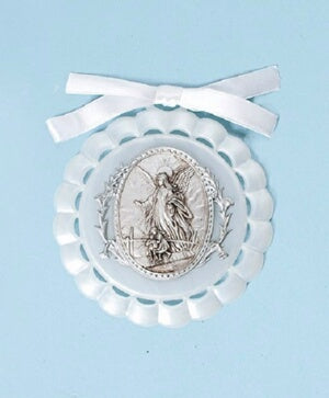 "Cradle Medal-Baptism-White (4.25"") Boxed"