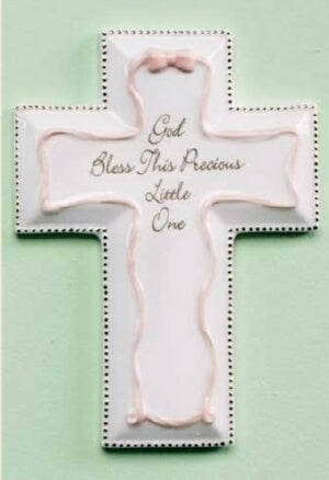 "Wall Cross-Baptism-Pink (6"")"